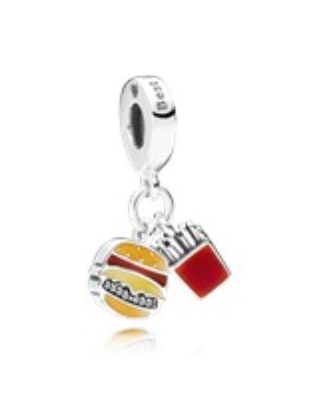 PANDORA Burger & Fries Pendant Charm (797211ENMX) $45 USD