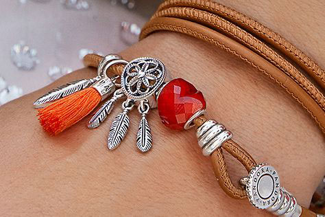 pandora spicy orange double leather bracelet