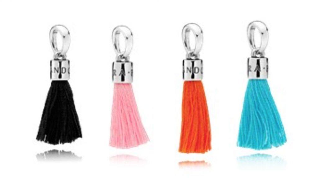PANDORA Tassel Charm in Black (797212CBK), Bright Pink (797212CBP), Orange (797212COE) and Turquoise (797212CTQ) $35 USD