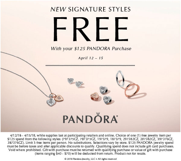 92d2dde09 The FREE PANDORA Signature Style promotion is available in store and online  at our preferred PANDORA retailer BeCharming.com.