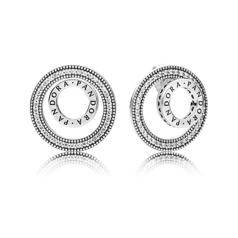 Forever PANDORA Signature Stud Earrings (297446CZ)
