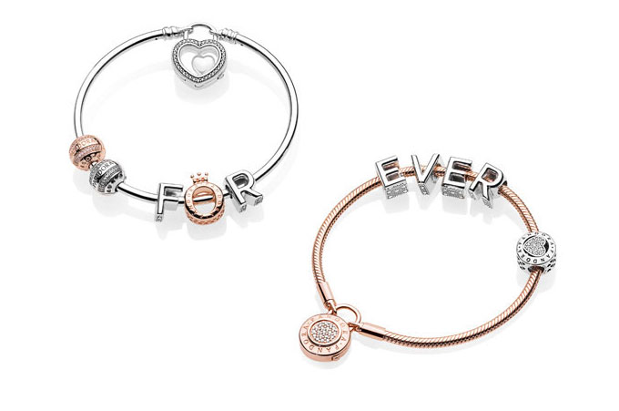 Here The New Reversible Letter Charms Are Features On Bracelets Along With Pandora Signature Clips And A Heart Charm