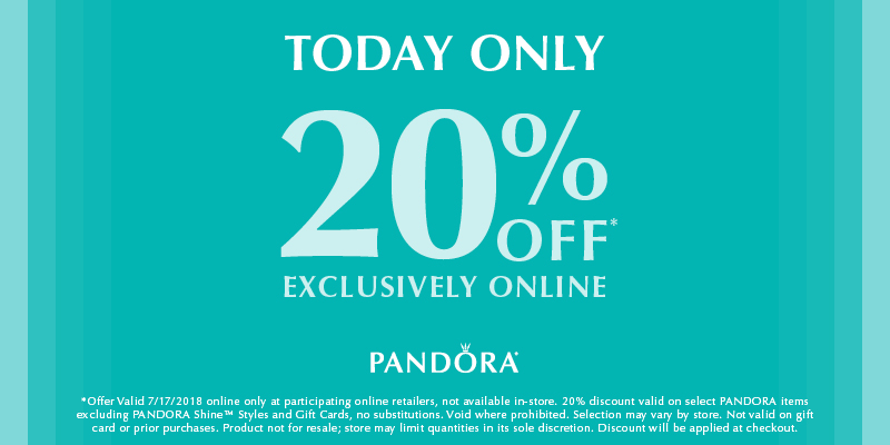 pandora 20% exclusive online offer sale promotion 17 july 2018 autumn winter 2018 collection