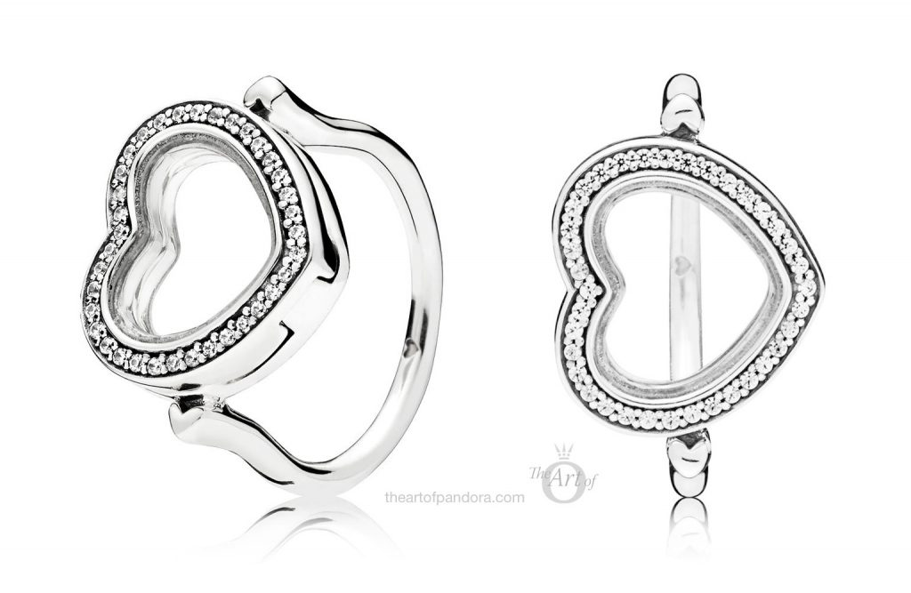 Sparkling PANDORA Floating Heart Locket Ring (197252CZ)