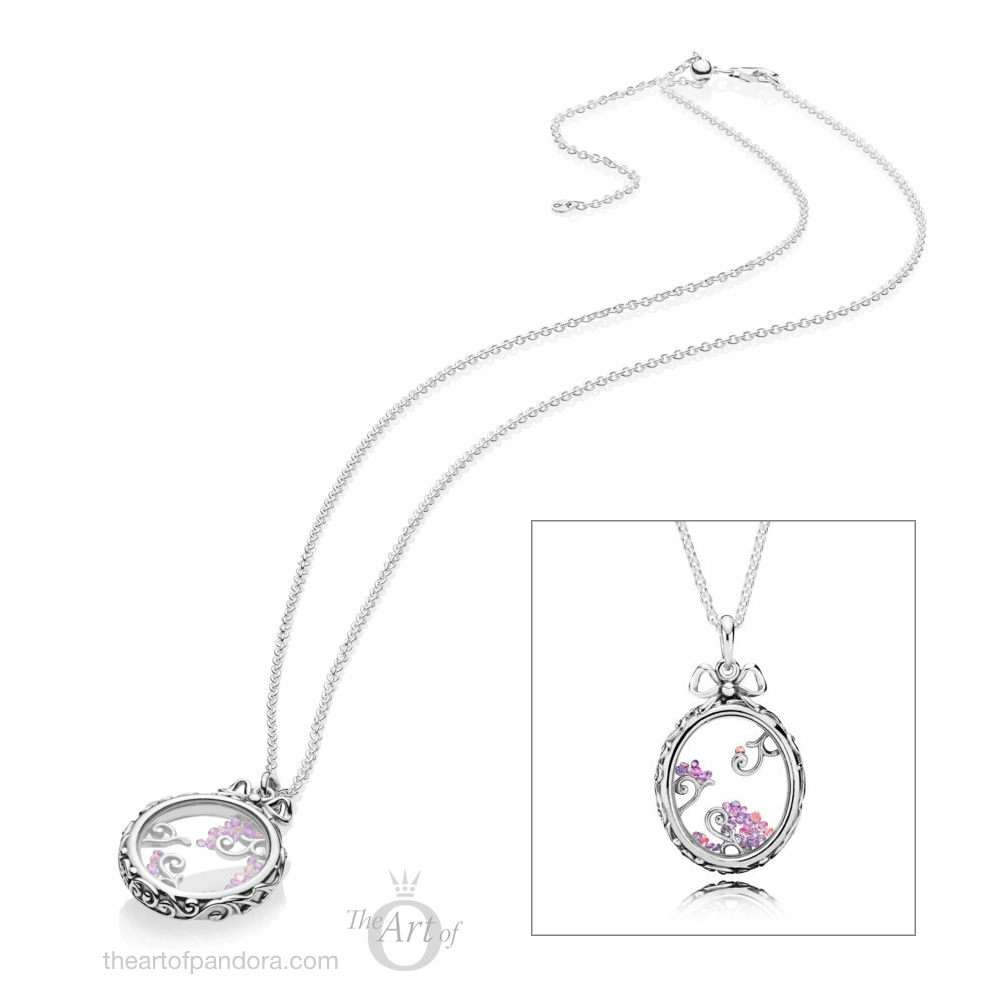 PANDORA Locket of Dazzle / Dazzling Regal Pattern Necklace (397710SAM)