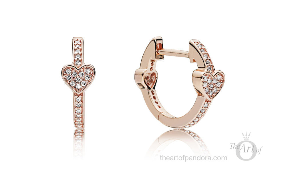 PANDORA Rose Alluring Hearts Hoop Earrings (287290CZ)