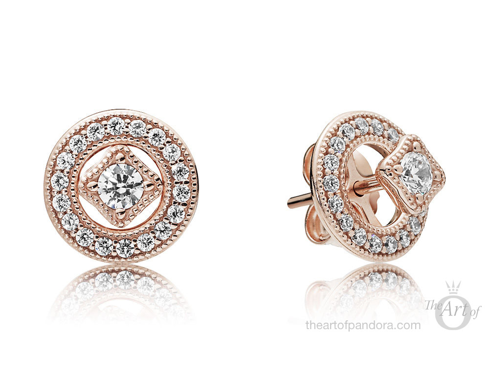 PANDORA Rose Vintage Allure Stud Earrings (280721CZ)