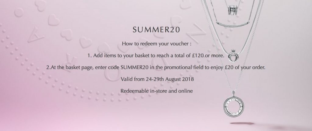 pandora summer 20 sale bounce back offer