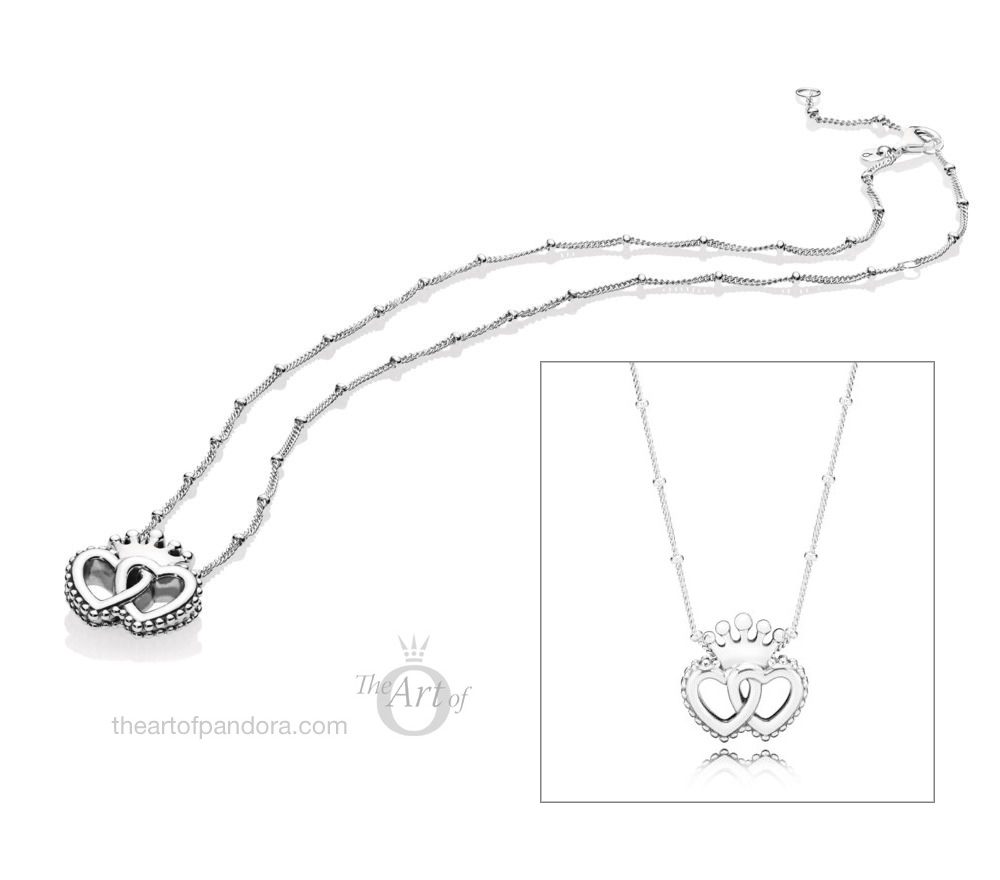 PANDORA United Regal Hearts / Interlocked Crown Hearts Necklace (397719)