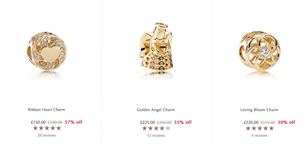 pandora gold charms sale