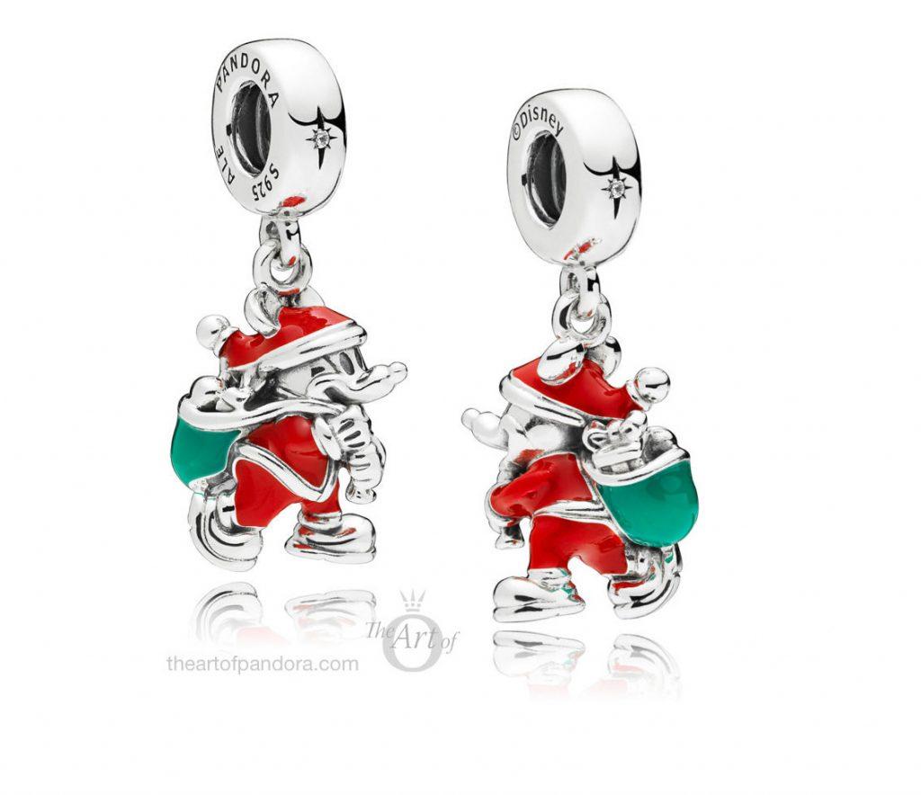 PANDORA Disney Santa Mickey & Gift Bag Pendant Charm (797501ENMX) winter 2018