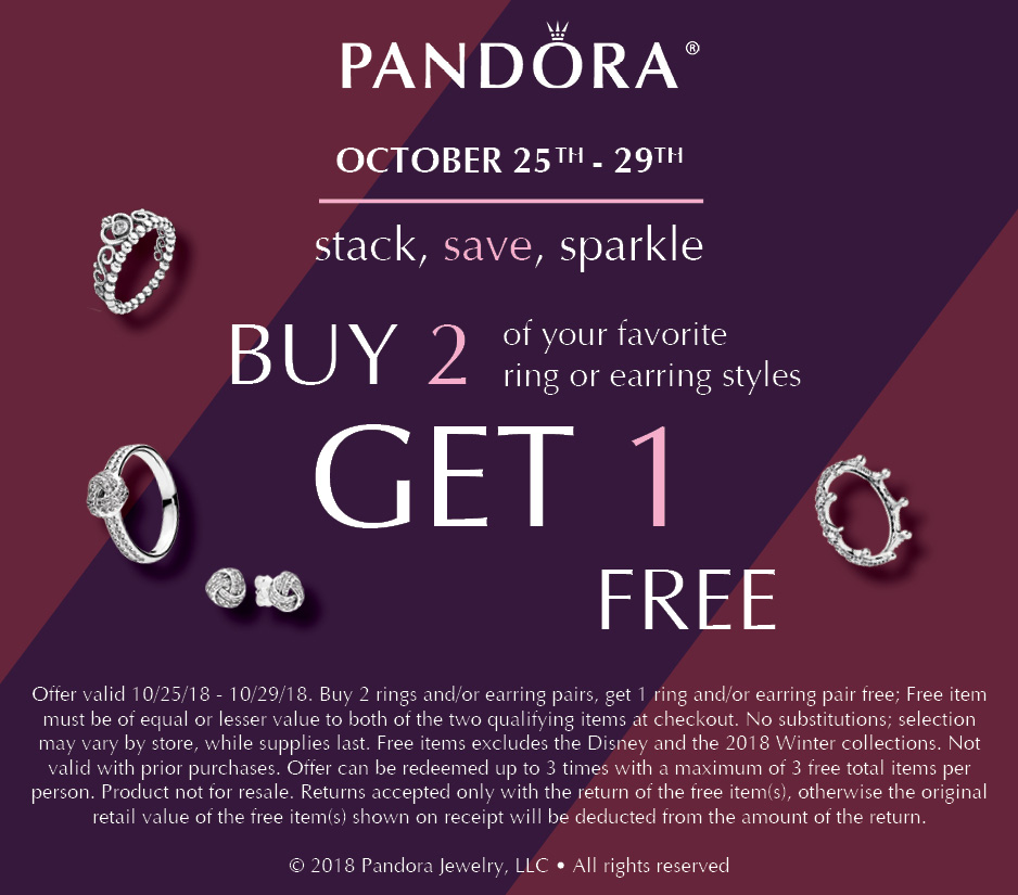 pandora stack save sparkler buy 2 get 1 free rings earrings october promotion 2018 winter gift event usa be charming
