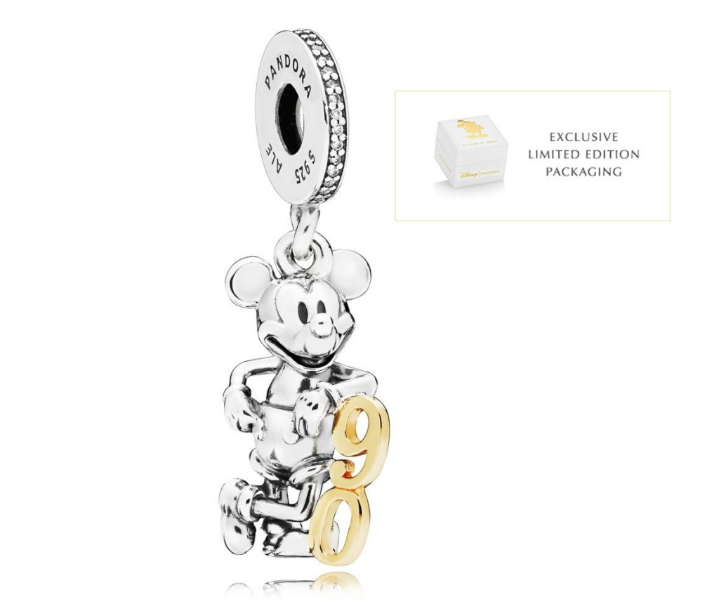 797497CZ PANDORA LIMITED EDITION DISNEY MICKEY'S 90TH ANNIVERSARY HANGING CHARM