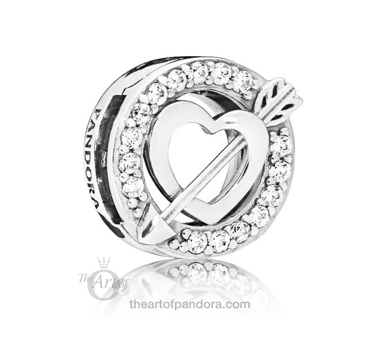 PANDORA Reflexions Asymmetric Heart and Arrow Clip 797793CZ Valentines Day 2019