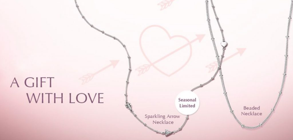 9a2ea9346 Spend HK$1,280 on regular priced PANDORA jewellery and receive a FREE  PANDORA Necklace. Choose either the Sparkling Arrow Necklace or the silver  Beaded ...