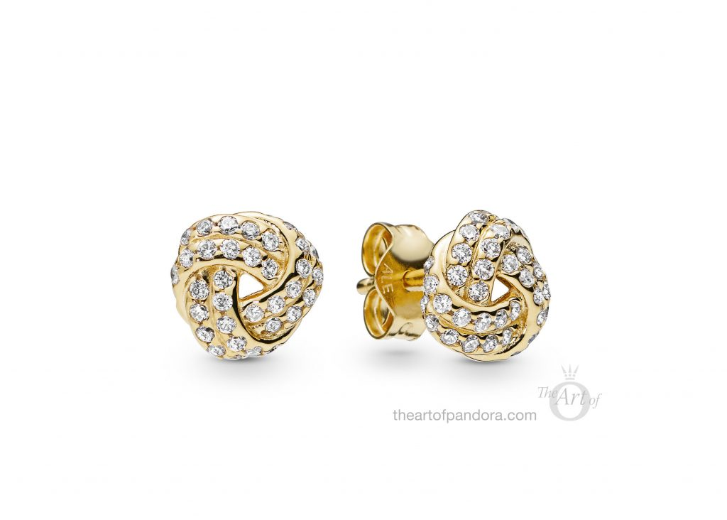 260696CZ PANDORA Shine Sparkling Love Knots Earrings Spring 2019