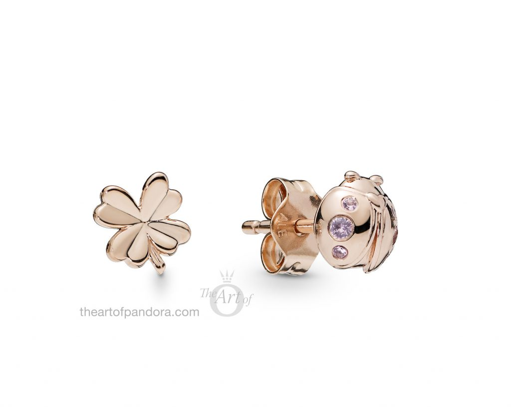 287960NPO PANDORA Four Leaf Clover and Ladybird Stud Earrings Spring 2019