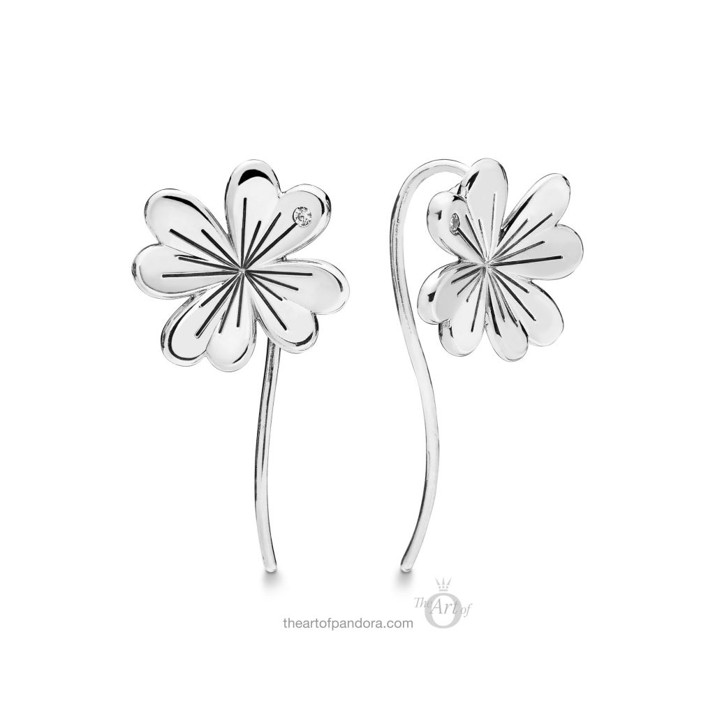 297908CZ PANDORA Lucky Four Leaf Clovers Earrings Spring 2019
