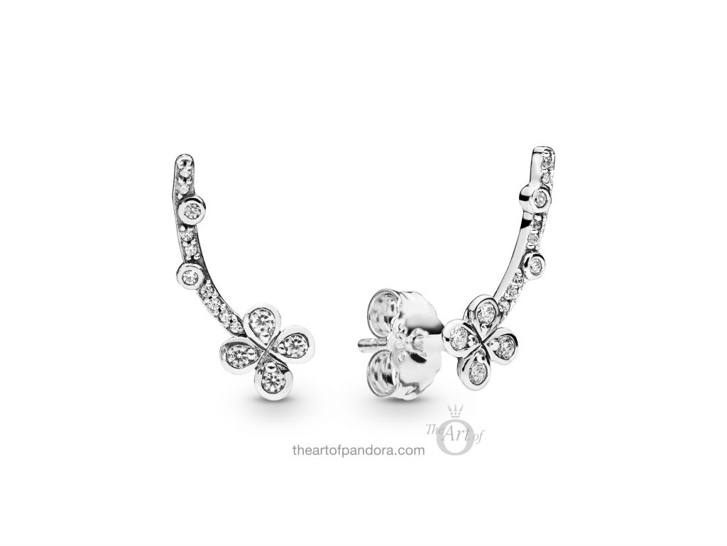 PANDORA Draped Four Petal Flowers Earrings (297936CZ) Spring 2019