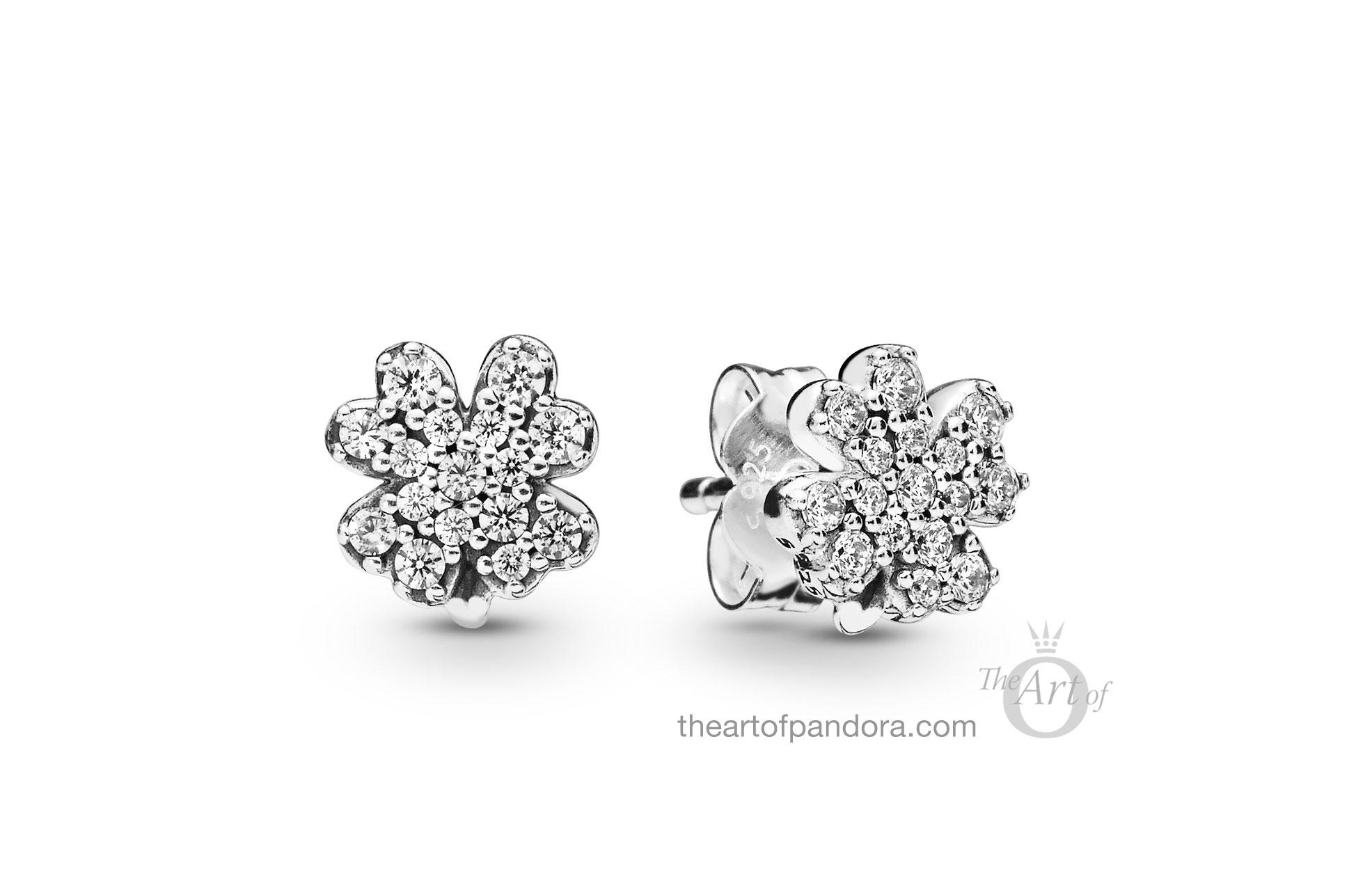 297944cz Pandora Lucky Four Leaf C Stud Earrings