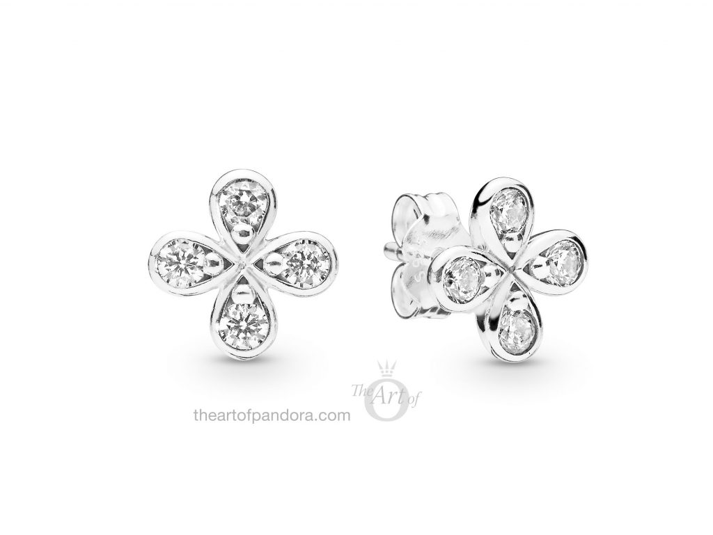 PANDORA Four Petal Flowers Stud Earrings (297968CZ) Spring 2019