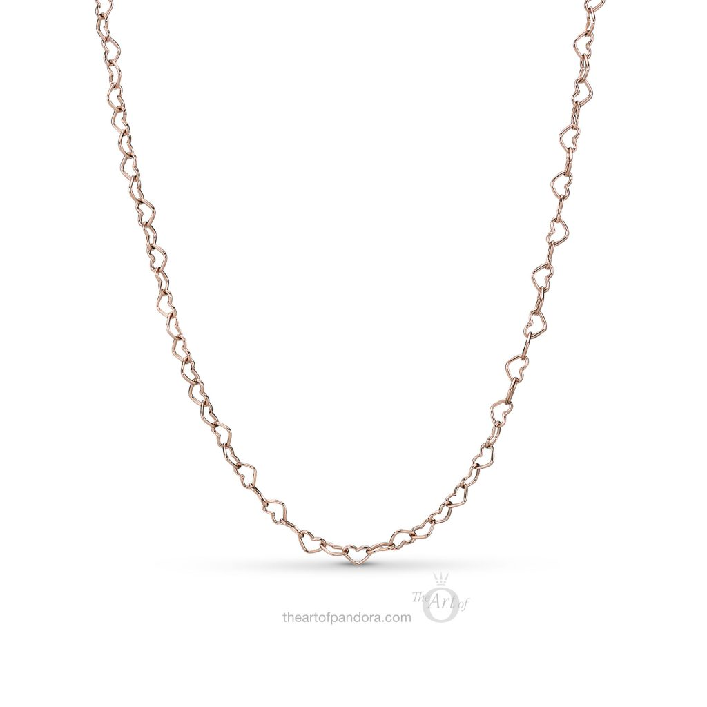 PANDORA Rose Joined Hearts Necklace (397961) Spring 2019