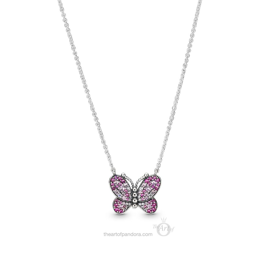 PANDORA Dazzling Pink Butterfly Necklace (397931NCCMX) Spring 2019
