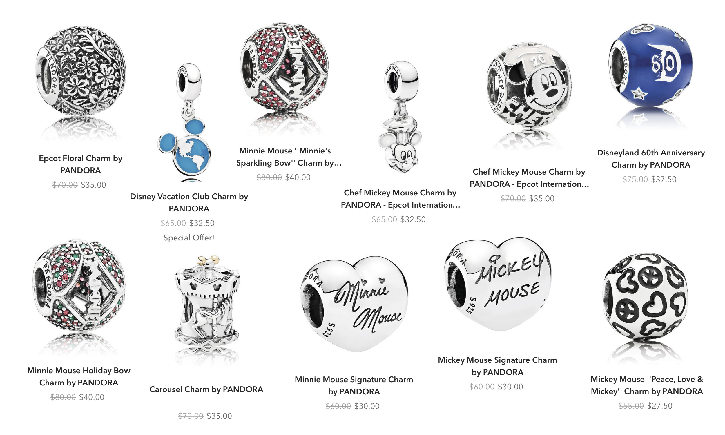 disney park exclusive pandora charms 2019