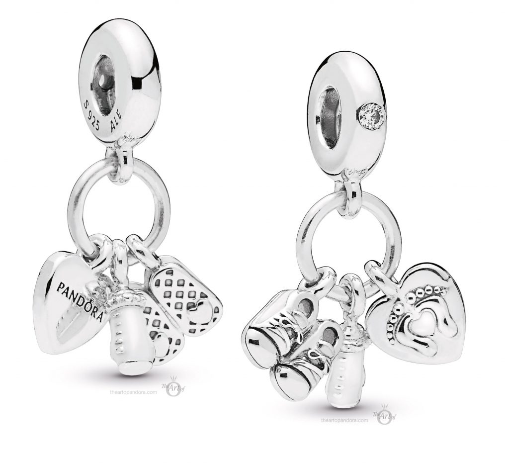 PANDORA-798106CZ Shoes Baby Bottle and Heart charm mothers day 2019
