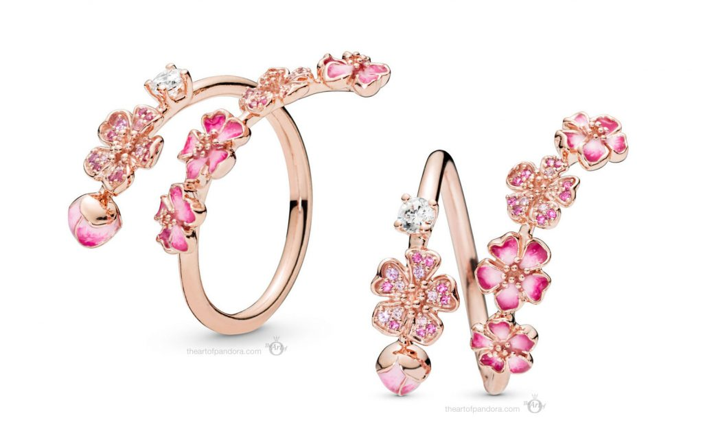 PANDORA Rose Peach Blossom Flower Branch Ring (188088NCCMX)