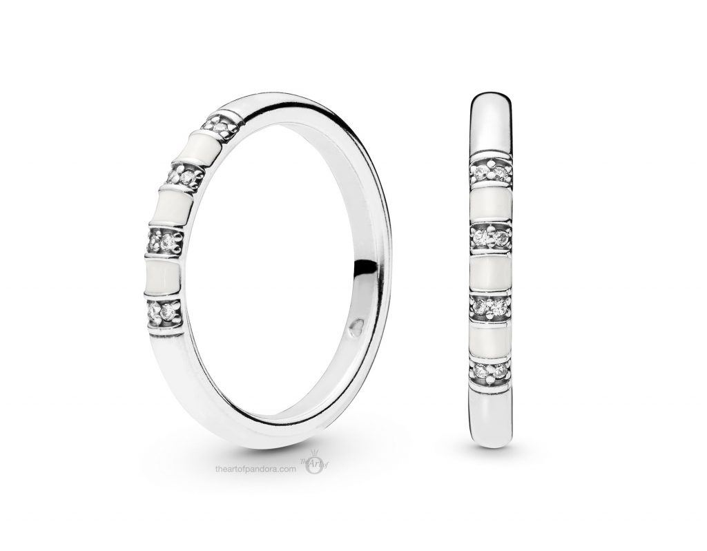PANDORA Silver and White Enamel Ring (198052CZ) PANDORA Summer 2019