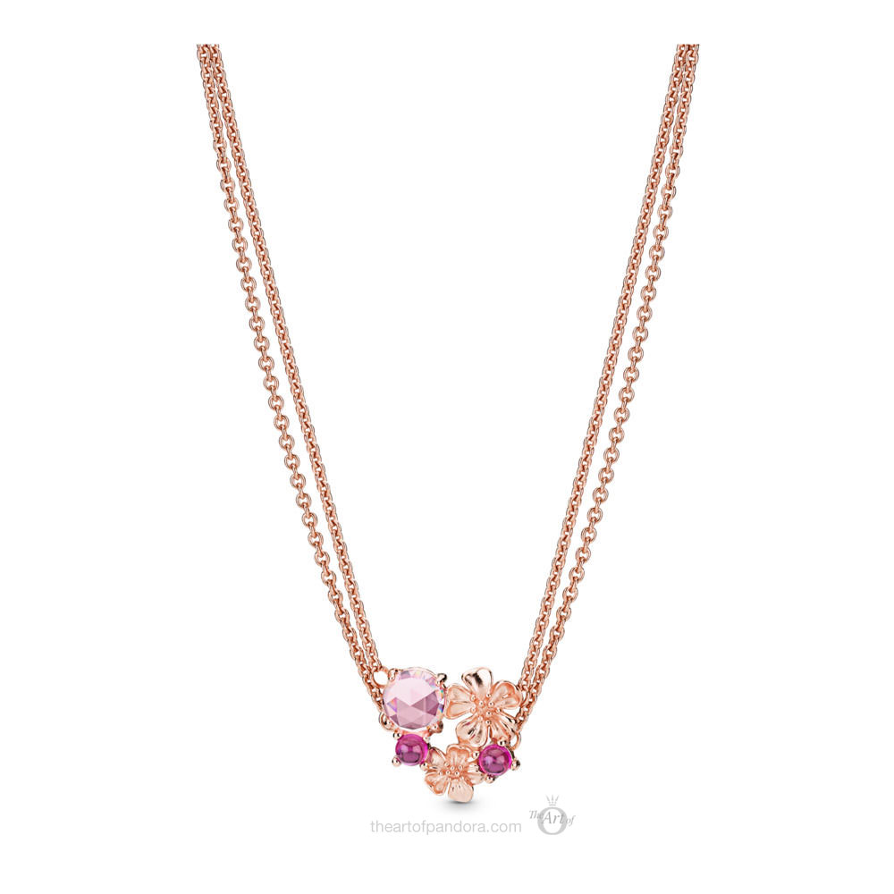 PANDORA Rose Peach Blossom Flower Necklace  (388101NCC)