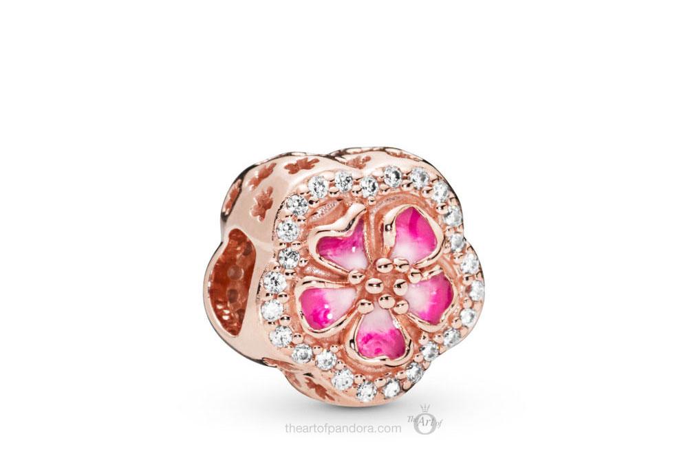PANDORA Rose Sparkling Peach Blossom Flower Charm (788079CZ)