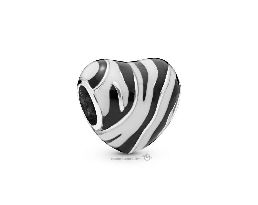 PANDORA Summer 2019 PANDORA Zebra Print Heart Charm (798056ENMX)