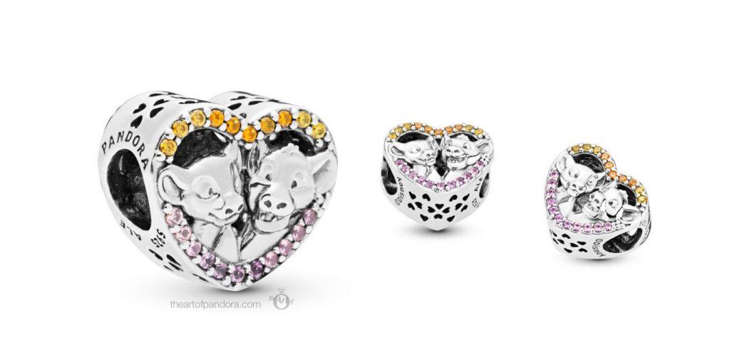 Pandora Disney Sparkling Simba & Nala Heart Charm (798044NPRMX)