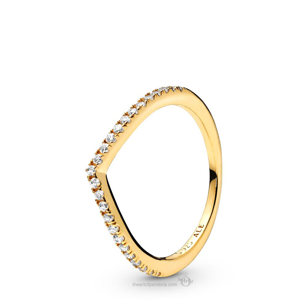 166316CZ Pandora Shine Sparkling Wishbone Ring
