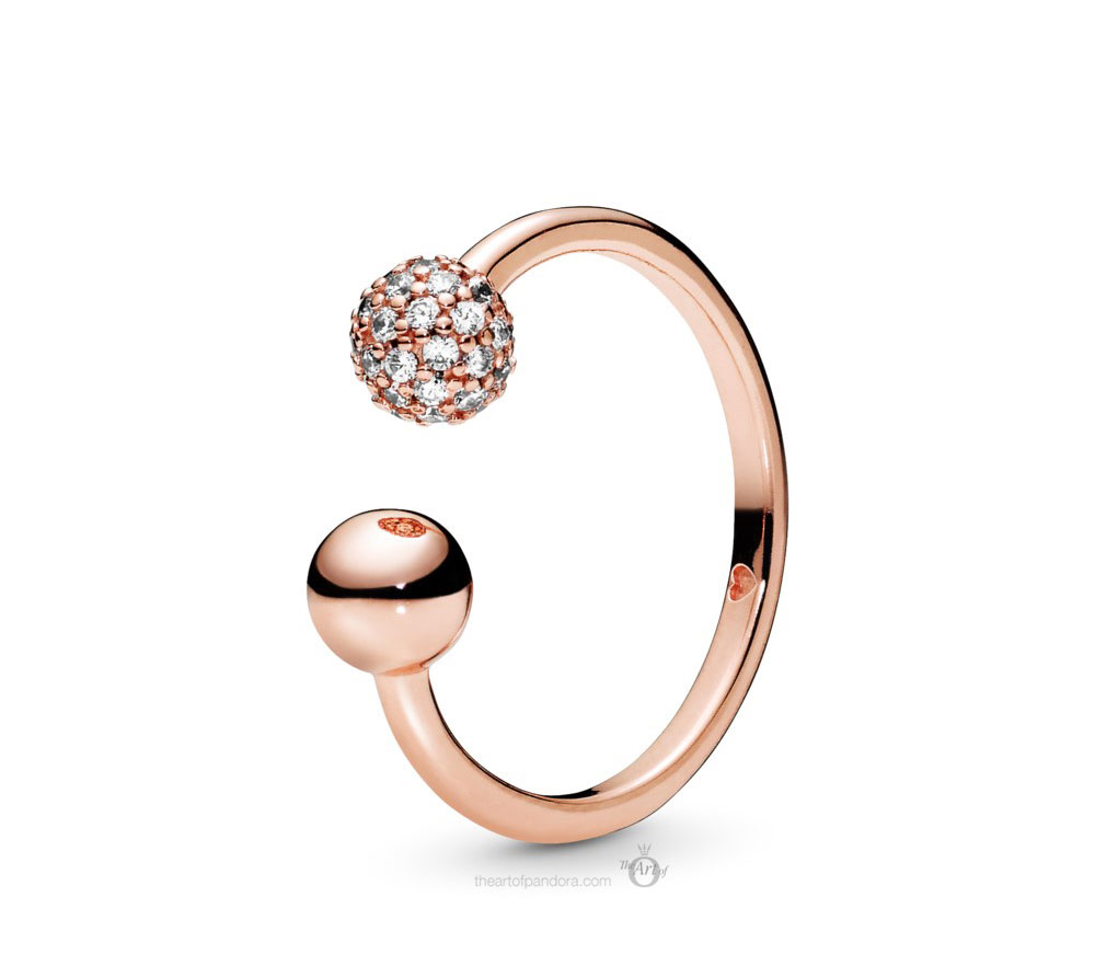 Pandora Rose Polished & Pave Bead Open Ring (188316CZ) Autumn 2019