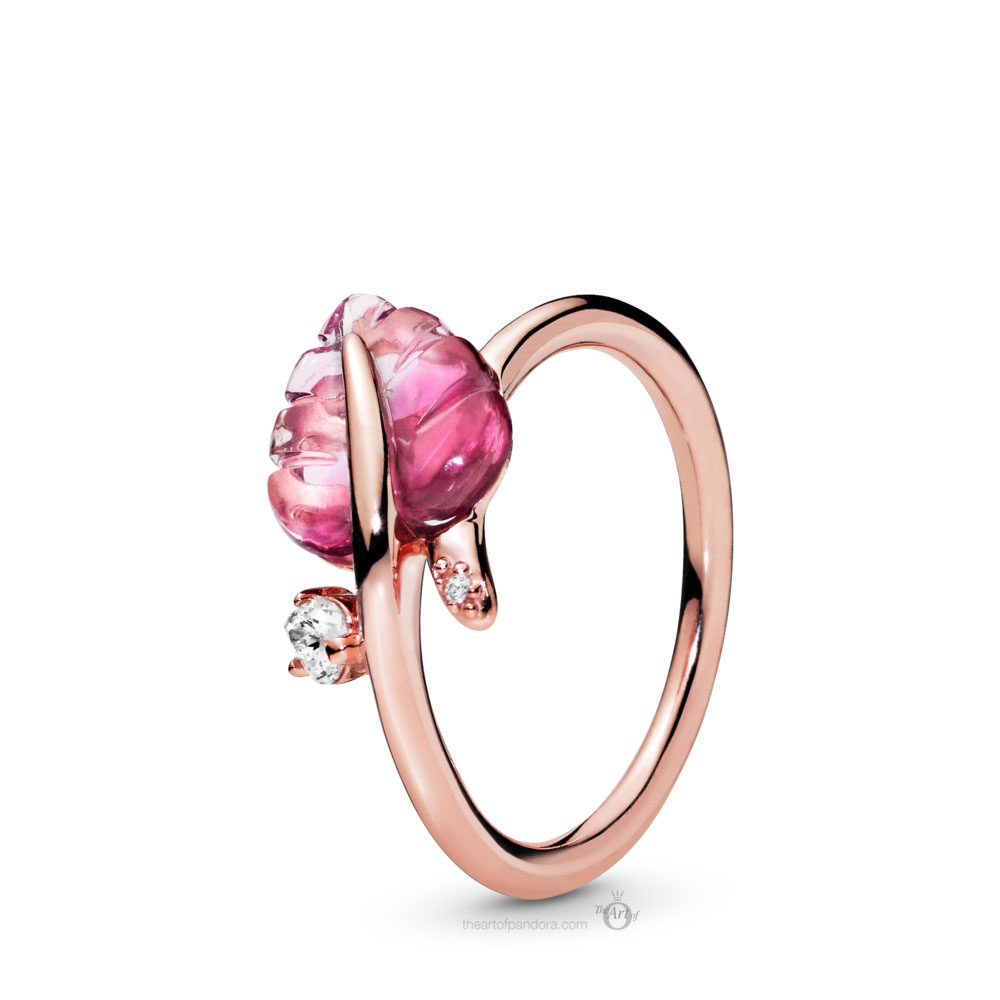 Pandora Rose Pink Murano Glass Leaf Ring (188319PMU) Autumn 2019
