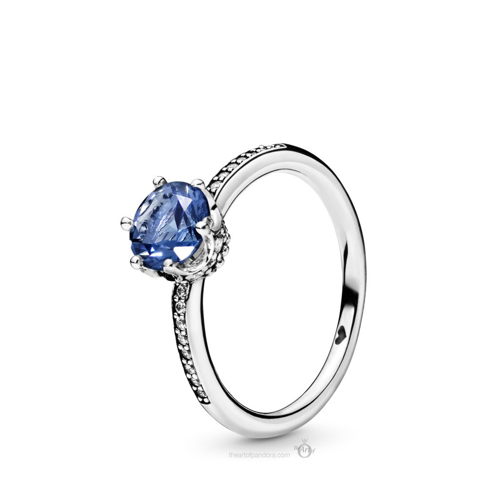 Pandora Blue Sparkling Crown Ring (198289NSWB) Autumn 2019