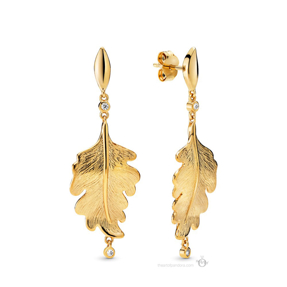 Pandora Shine Oak Leaf Earrings (268259CZ) Autumn 2019