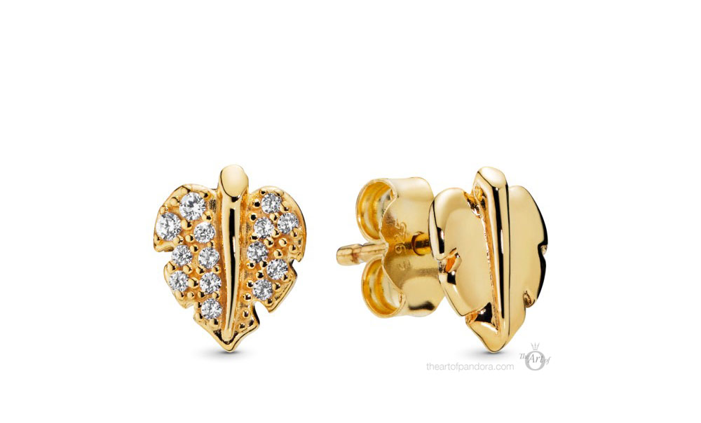Pandora Shine Shining & Sparkling Leaf Stud Earrings (268334CZ) Autumn 2019