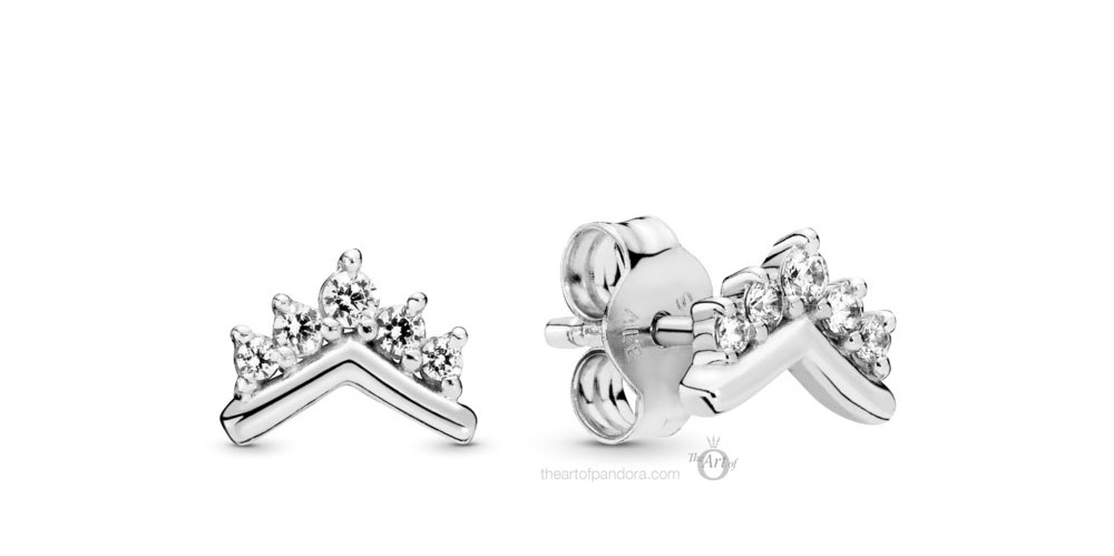Pandora Tiara Wishbone Stud Earrings (298274CZ) Autumn 2019