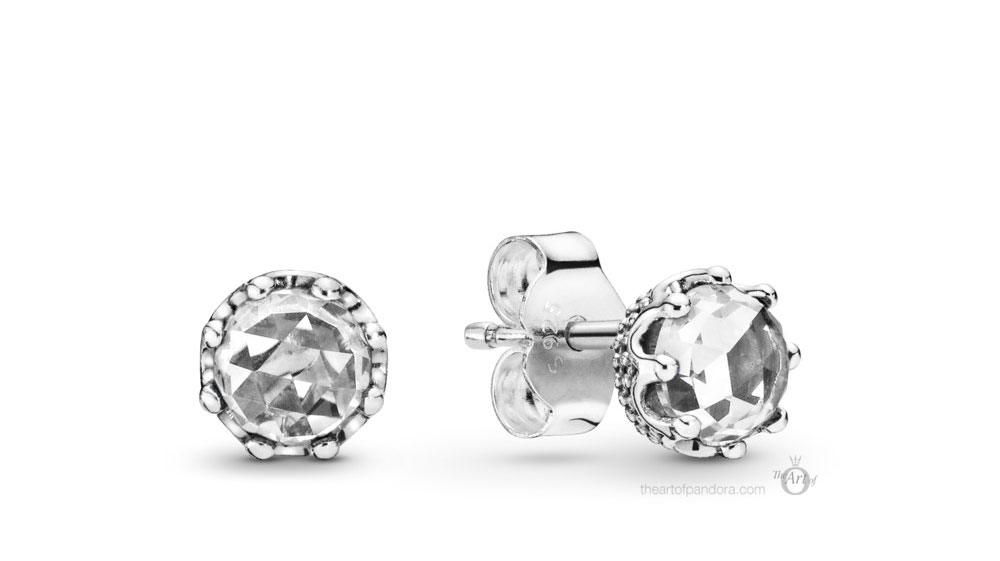 Pandora Clear Sparkling Crown Stud Earrings (298311CZ) Autumn 2019