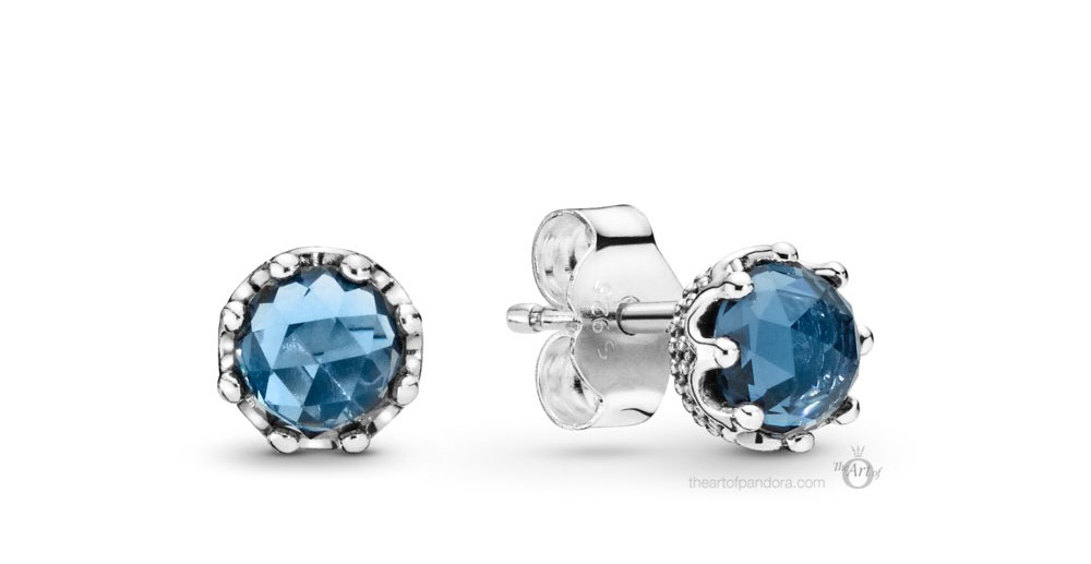 Pandora Blue Sparkling Crown Stud Earrings (298311NMB) Autumn 2019