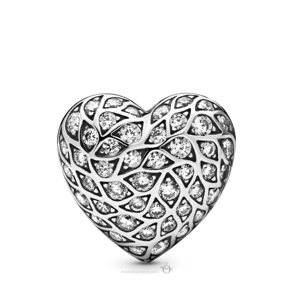 Pandora Sparkling Pattern Heart Single Stud Earring (298568C01) Autumn 2019
