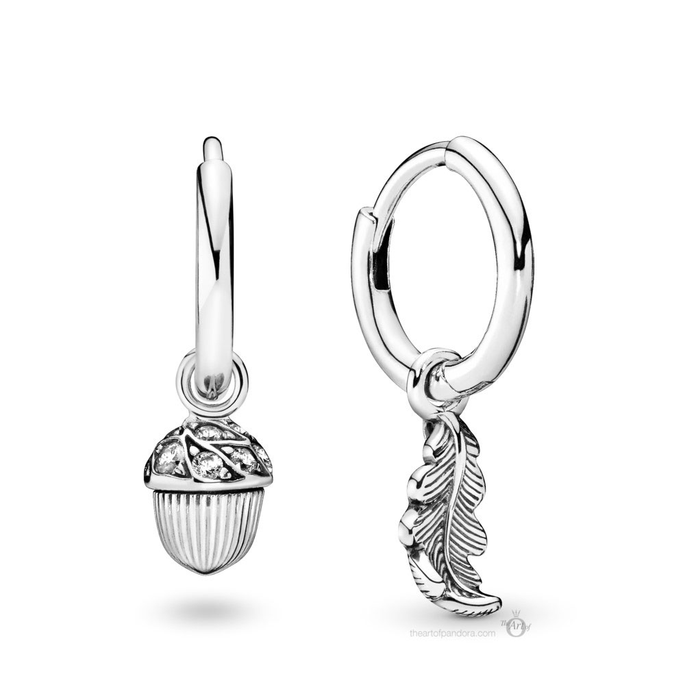 Pandora Acorn & Leaf Hoop Earrings (298603C01) Autumn 2019