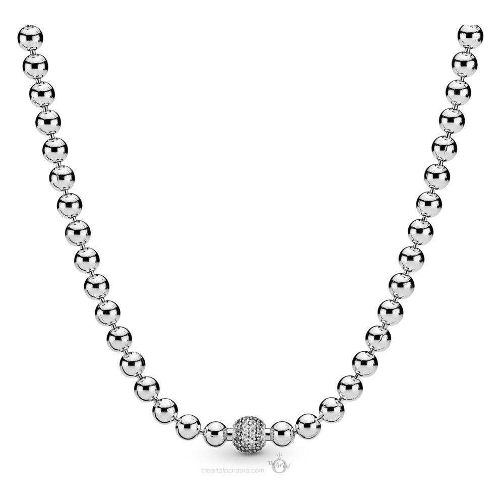 Pandora Beads & Pave Necklace (398565C01-45) Autumn 2019