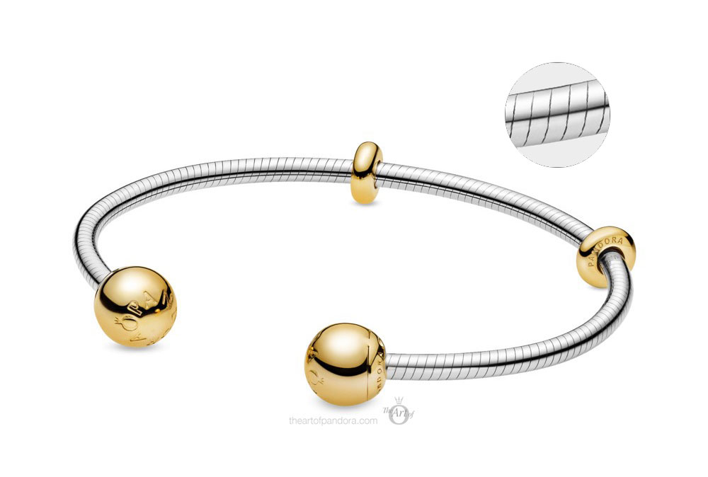 Pandora Shine Moments Snake Chain Style Open Bangle (568291) Autumn 2019