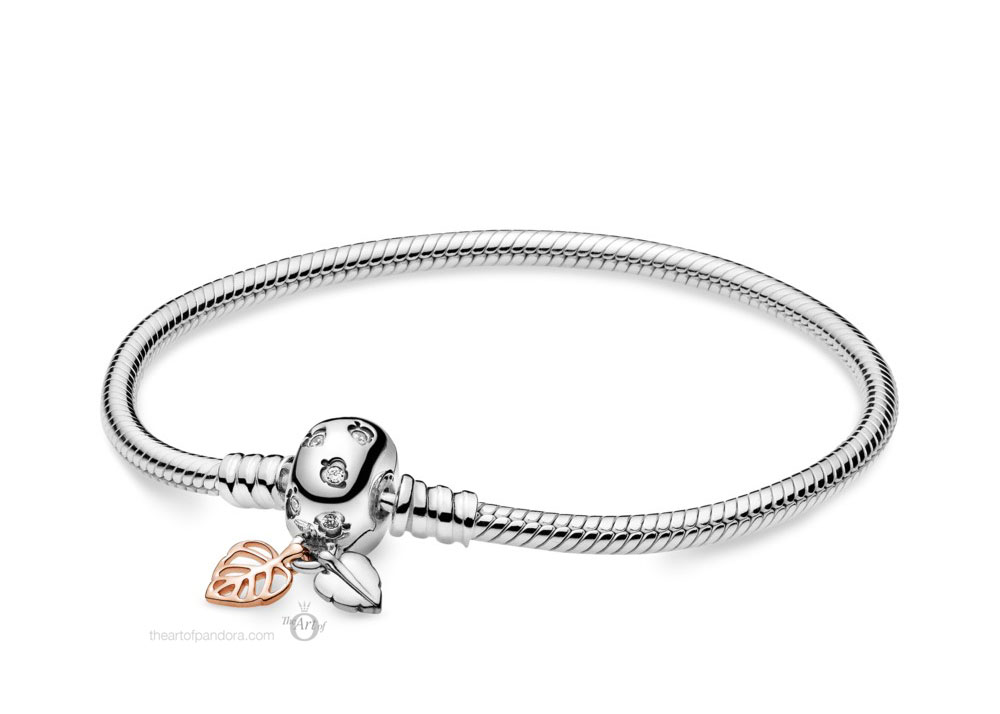 588333CZ Pandora Moments Leaves Snake Chain Bracelet Autumn 2019