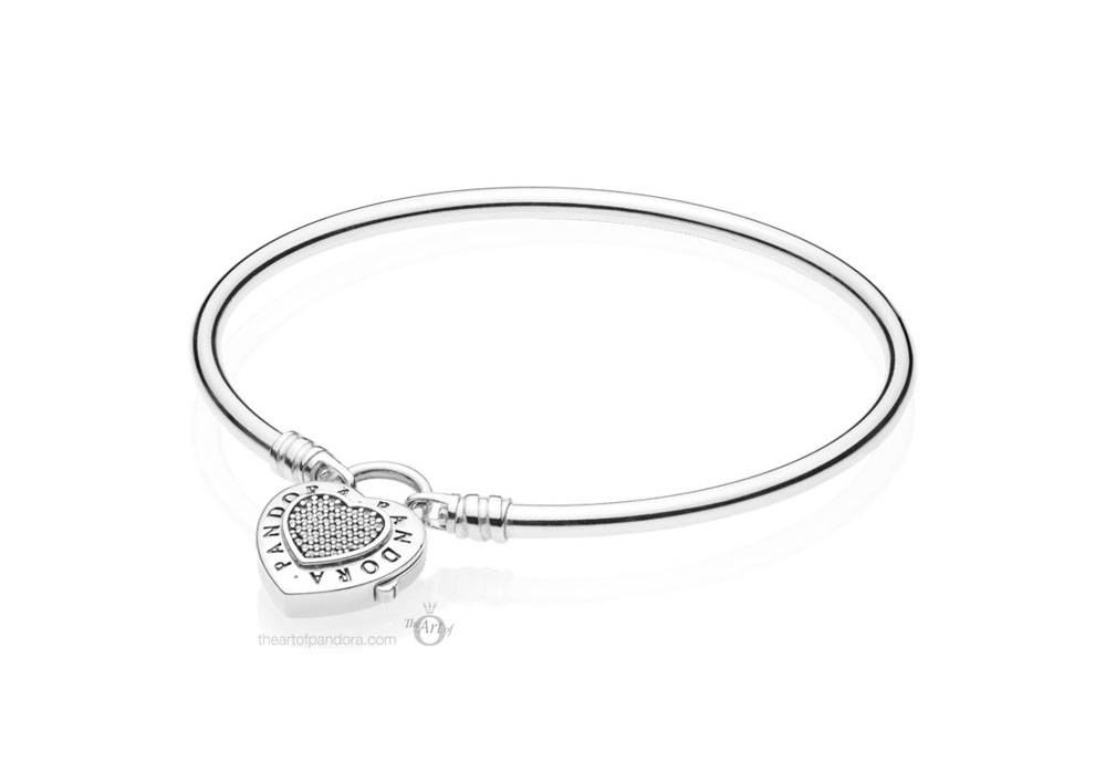 597700CZ Pandora Logo Heart Padlock Clasp Bangle Autumn 2019